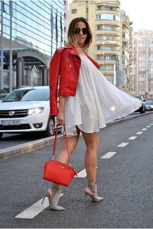 red Michael Kors bag - ivory Choies dress - ruby red OASAP jacket