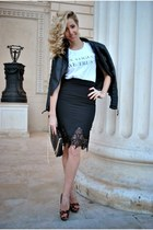 black Sheinside jacket - black Sheinside skirt