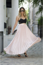 black Leather clutch bag - light pink She In skirt - black She In top