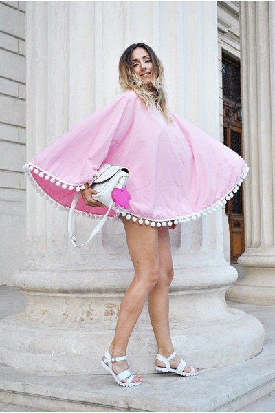 white bag - light pink Choies cape - hot pink Marc Jacobs accessories