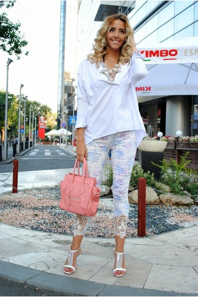 white OASAP leggings - peach OASAP bag - white Choies blouse