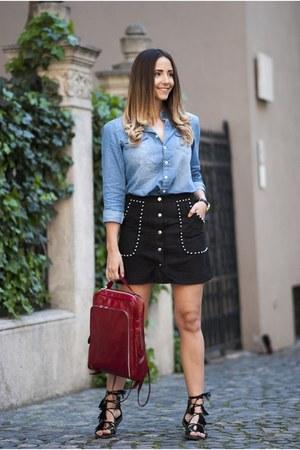 black Choies skirt - light blue Choies shirt - black AmiClubWear sandals