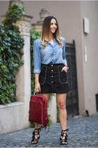 black Choies skirt - light blue Choies shirt - black AmiClubWear sandals