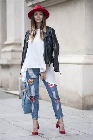 red Choies hat - sky blue romwe jeans - black Shopbop jacket
