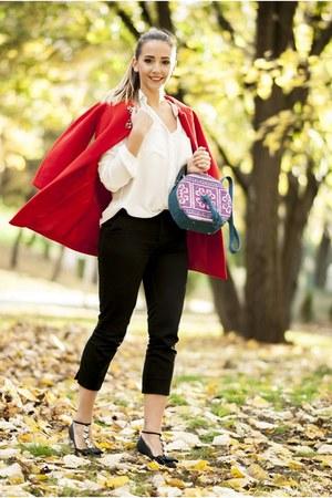 red Shopbop coat - black Jessica Buurman flats