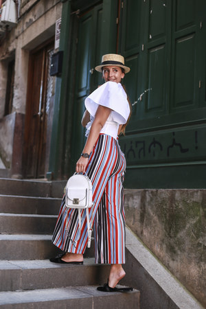 blue VIPshop pants - off white Shopbop hat - white Shopbop blouse