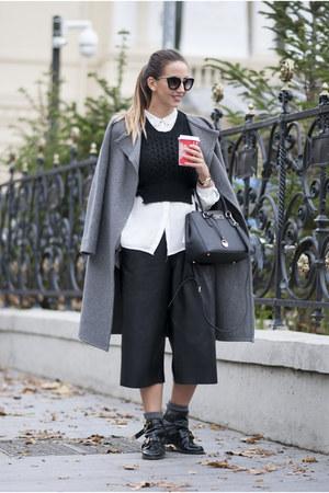 black Choies boots - black DKNY bag - black Shopbop pants