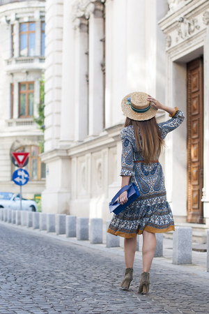 navy VIPme dress - eggshell Shopbop hat
