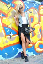 Sheinside skirt - black fShoes shoes - light blue Sheinside vest