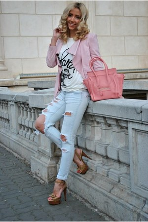 light pink Sheinside blazer - OASAP bag