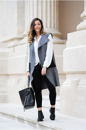 black YVY Bags bag - charcoal gray Inia Lavin vest - black Zara pants