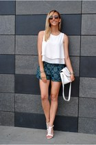 white 6ks blouse - teal 6ks shorts