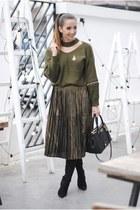 green Rosegal sweater - black Jessica Buurman boots - black DKNY bag