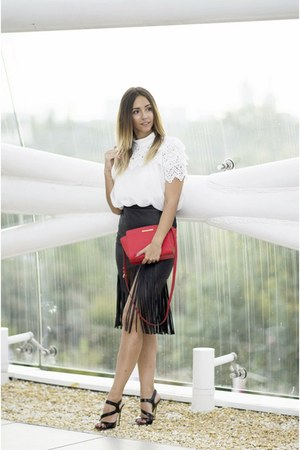 black Choies skirt - red Michael Kors bag - black versace sandals