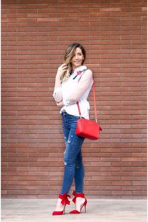 red Lovely shoes shoes - navy Sheinside jeans - white Sheinside shirt