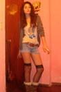 Bronze-boots-boots-light-blue-shorts-shorts