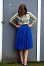 Yellow-thrifted-shirt-blue-thrifted-skirt