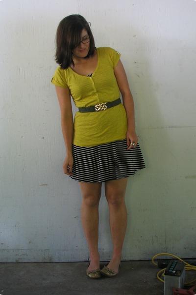 black striped Converse One-Star dress - mustard Ana shirt