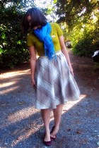 tan plaid thrifted skirt - turquoise blue gift scarf - mustard thrifted t-shirt