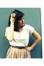 White-target-shirt-camel-polkadot-forever-21-skirt