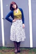 dark brown thrifted boots - mustard thrifted shirt - cream floral thrifted skirt