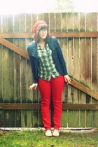 red thrifted pants - red mom made hat - navy thrifted sweater