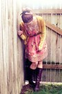 Brown-thrifted-boots-bubble-gum-floral-free-dress