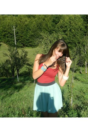 green poema skirt - sky blue meli melo bracelet - ruby red blouse