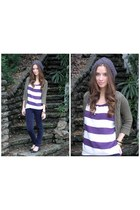 Urban Outfitters hat - charcoal gray Urban Outfittersters sweater - purple strip