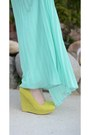 Aquamarine-pleated-maxi-ruche-skirt-bubble-gum-floral-ruche-blazer