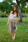 White-polka-dot-forever21-blouse-tan-pleated-zara-skirt-pink-j-crew-belt-b