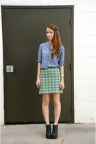 brown plaid Blowfish boots - blue JCrew shirt - green houndstooth JCrew skirt