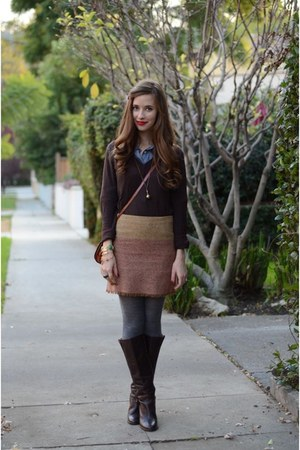 maroon colorblock Max Studio skirt - brown Jcrew boots