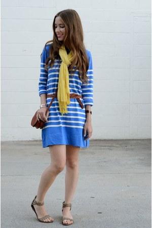 blue JCrew dress - yellow unknown scarf - tan braided American Eagle flats