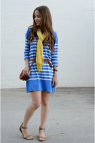 blue JCrew dress - yellow unknown scarf - tan braided American Eagle flats