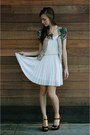 White-pleated-frock-candy-dress-green-floral-ruche-sweater