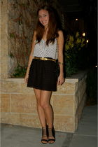 black Forever21 blouse - black Urban Outfitters skirt - black Aldo shoes - gold