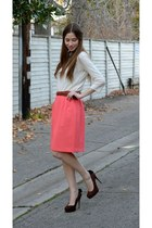pink pencil thrifted vintage skirt - cream Urban Outfitters sweater