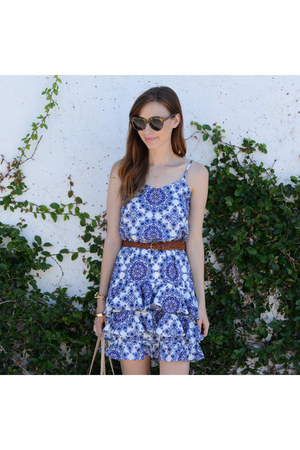 blue JCPenney dress - brown Karen Walker sunglasses