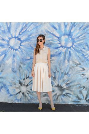 beige JCPenney blouse - black round Karen Walker sunglasses