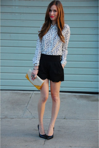 white Simply Audrey shirt - yellow clutch Heather Belle bag