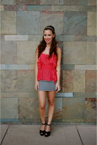 red Urban Outfitters top - black alainn bella skirt - black Michael Kors shoes