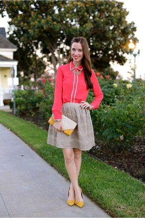 mustard bow Sole Society heels - coral button up A-thread shirt