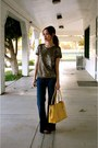 Blue-gap-jeans-gold-sequin-jcrew-shirt-yellow-brahmin-purse