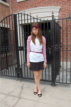 black Urban Outfitters skirt - white JCrew top - purple Gap belt - pink madewell