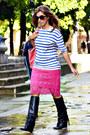 Black-mango-boots-blue-h-m-sweater-hot-pink-cacharel-skirt
