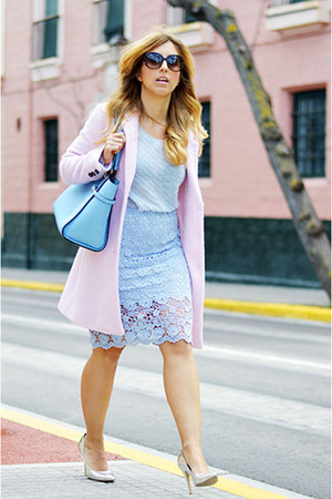 light pink Bershka coat - light blue Mango sweater - periwinkle Bershka heels