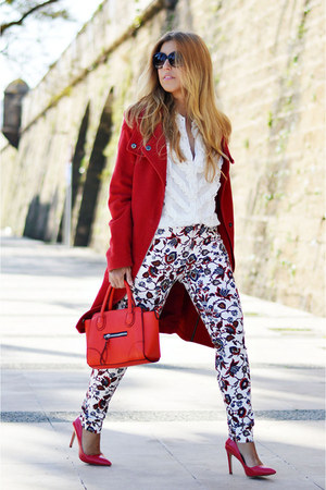red Mango coat - cream Zara shirt - red Parfois bag - red Zara pants