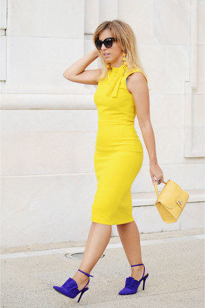yellow Zara dress - purple Zara heels - yellow romwe earrings