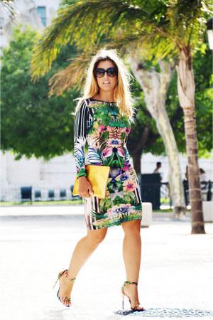 green Topshop dress - chartreuse La Strada heels